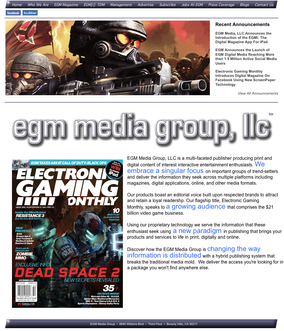 Motion City | Web Design | Electronic Gaming Magazine